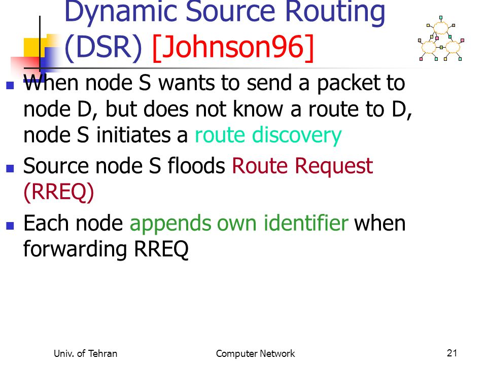 Dynamic Source Routing (DSR) [Johnson96]